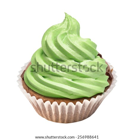 Cupcake with butter cream icing isolated on white.