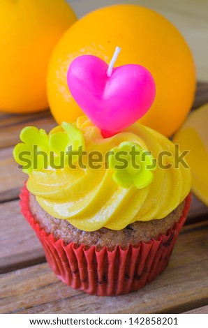 cupcake with candle - stock photo