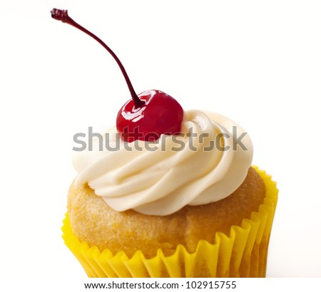Cupcake with Cherry On Top - stock photo