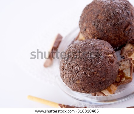 Cupcake with chocolate on white background