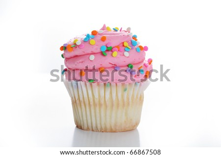 cupcake with colorful sprinkles - stock photo