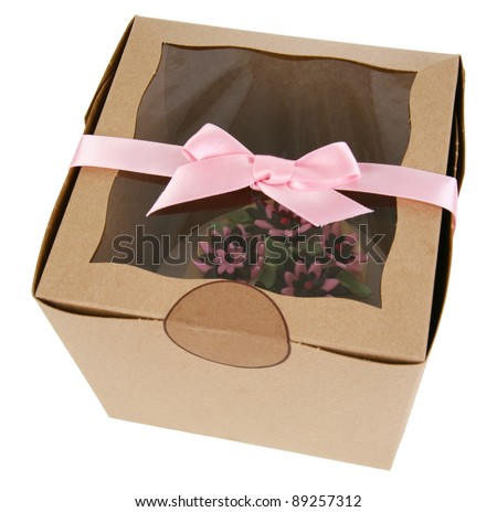 Cupcake with Fondant Flowers in a Gift Shop Box with Pink Ribbon Trim - stock photo