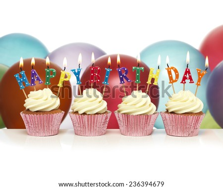 Cupcake with happy birthday candles