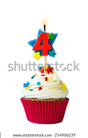 Cupcake with number four candle - stock photo