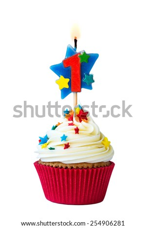 Cupcake with number one candle - stock photo