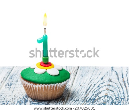 Cupcake with number one on white background isolated - stock photo