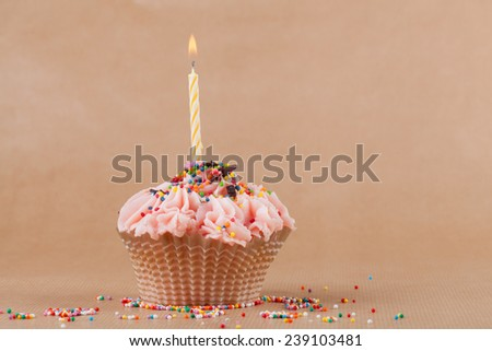 Cupcake with the burning festive candle on a pastel background - stock photo