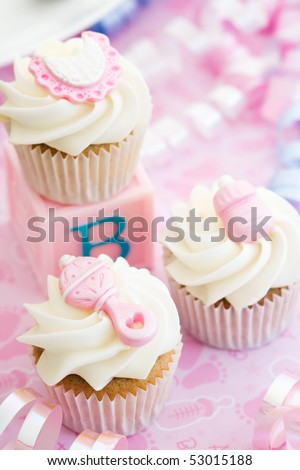 Cupcakes for a baby shower - stock photo