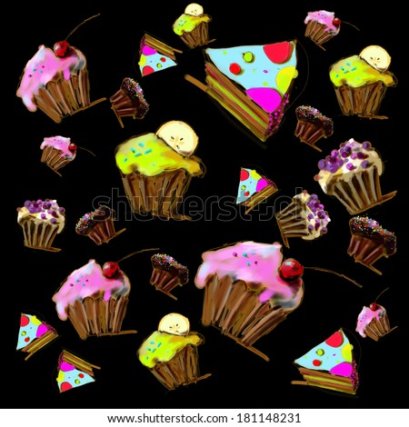 Cupcakes, muffins and pie on black background. Illustration. - stock photo