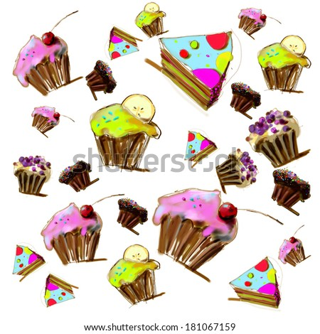 Cupcakes, muffins and pie on white background. Illustration. - stock photo