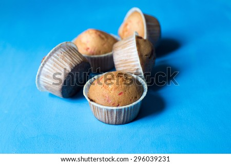 Cupcakes on a blue background