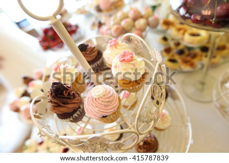 cupcakes on a stand - stock photo