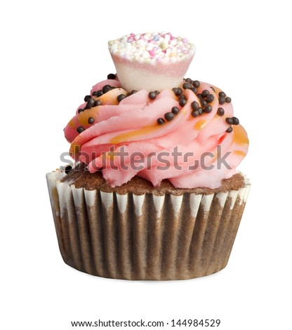 cupcakes,small cakes designed to serve one person,isolated on white