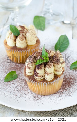 Cupcakes Tiramisu decorated with mint and cocoa powder on white plate  - stock photo