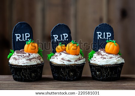 Cupcakes with a Halloween theme - stock photo