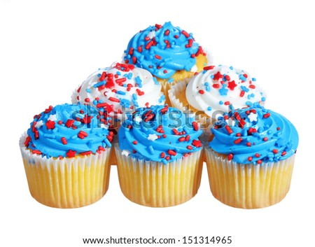 cupcakes with blue and white cream on the top. patriotic decorated, isolated on white background - stock photo