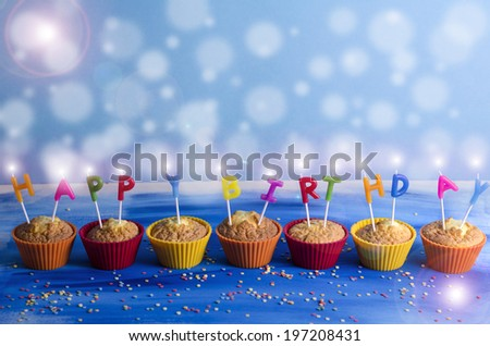 "Cupcakes with candles ""Happy Birthday"""