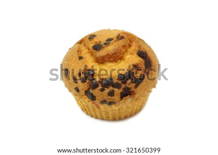 cupcakes with chocolate chips on a white background