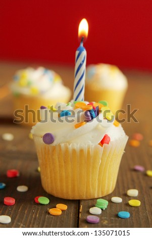 Cupcakes with colorful sprinkles and a blue candle on top - stock photo