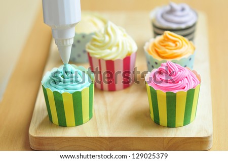 Cupcakes with Frosting - stock photo