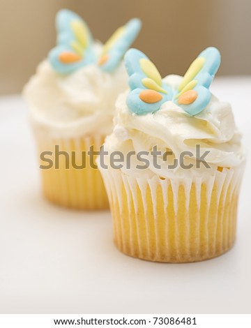 Cupcakes with summer and spring butterfly candy decoration - stock photo