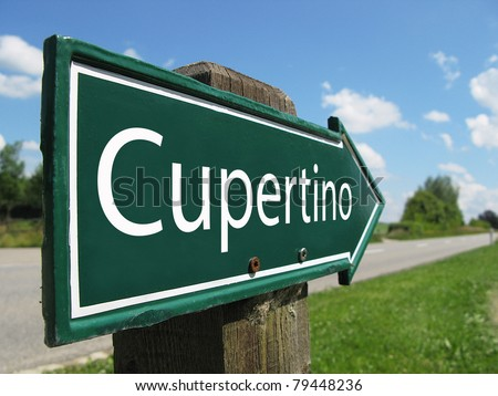 Cupertino signpost along a rural road - stock photo
