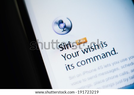 CUPERTINO, UNITED STATES - FEBRUARY 11, 2012: Siri the intelligent personal assistant and knowledge navigator button as seen on Apple iPhone on February 11, 2012. Siri is a very smart assitant - stock photo
