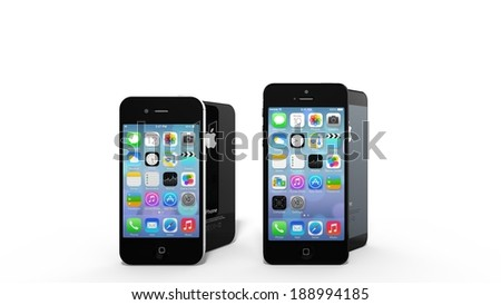 CUPERTINO, USA - APRIL 2014: An iPhone 4 and iPhone 5 on display. Rumors on the iPhone 6 are rising with more and more revelations about the new design and form factor. - stock photo