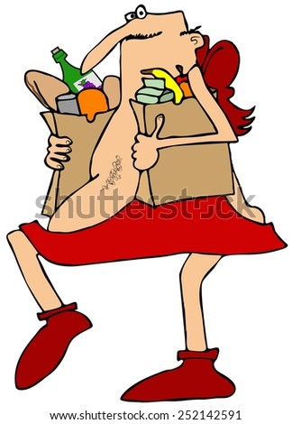 Cupid carrying groceries - stock photo