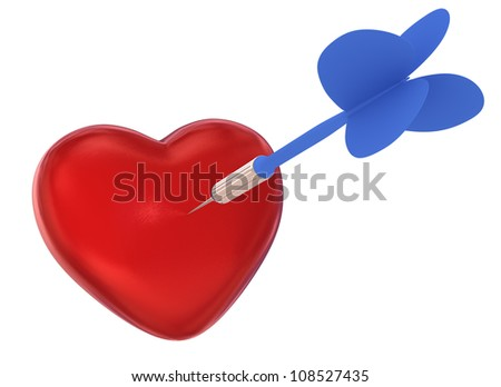 Cupid Dart on Target (Isolated on White Background) - stock photo