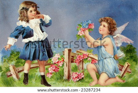 Cupid entreating a young girl with a bouquet of flowers - a circa 1905 Victorian Valentine illustration - stock photo