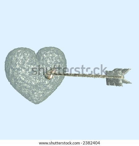 Cupid's arrow attempting to pierce a Heart with ice. So cold Cupid's arrow has iced over. Isolated on a light blue background. - stock photo