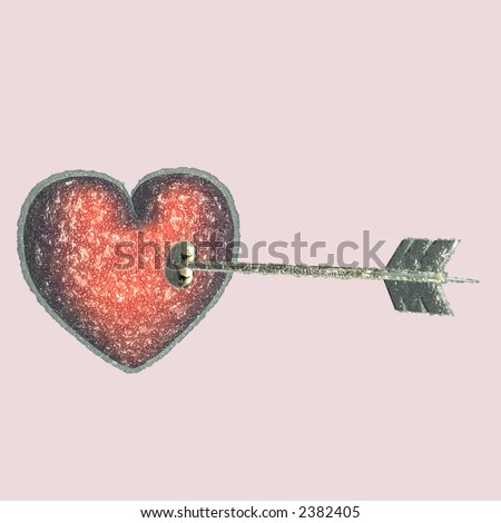Cupid's arrow attempting to pierce a Heart with ice. So cold Cupid's arrow has iced over. Isolated on a pink background. - stock photo