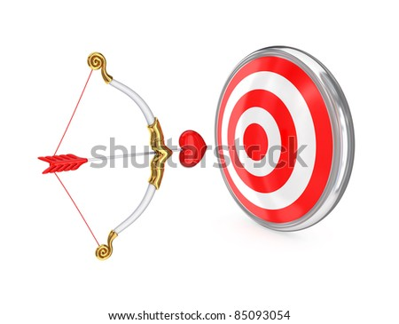 Cupid's bow and red target. Isolated on white.3d rendered. - stock photo