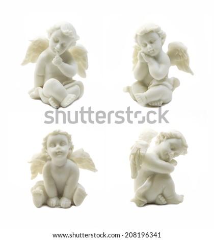 Cupid statue set  isolated on white background - stock photo