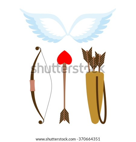 Cupid weapons set . Bow and arrow with heart. Quiver with arrows. Angel wings. Cupids wings. - stock photo