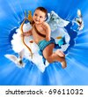 Cupid With Bow And Arrow, Flying  angel - stock photo