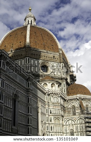Cupola of Florentian Duomo - Church Santa Maria del Fiore (Saint Mary with Flower) with the shadow of Giotto's Campanila