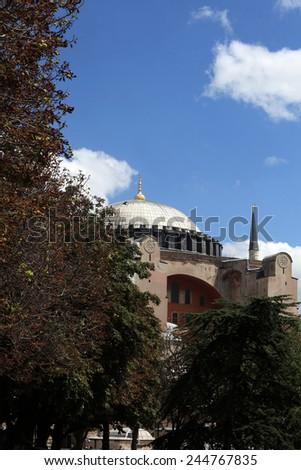 Cupola of Hagia Sophia in Istanbul, Turkey - stock photo