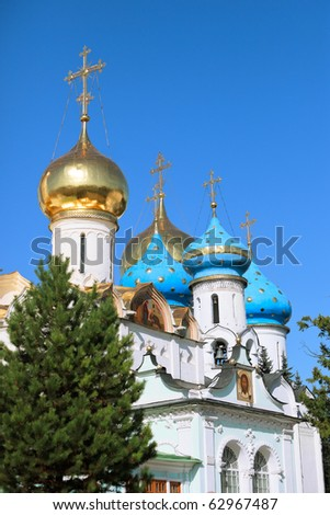 Cupola of The Uspenskiy cathedral (Sergiev Posad). This russian's monastery -The Trinity Lavra of St. Sergius -  is the most important and the spiritual center of the Russian Orthodox Church. - stock photo