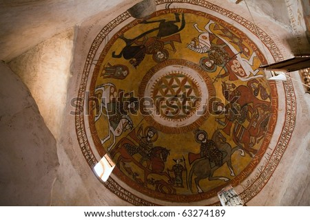 cupola painting in Coptic Christian monastery,  St. Paul cloister, Egypt - stock photo