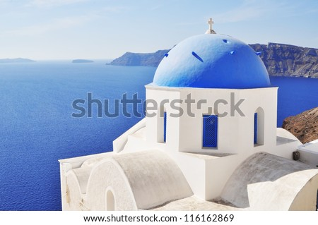 Cupolas from Santorini, Greece - stock photo