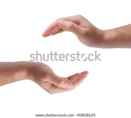 Cupped hands - stock photo