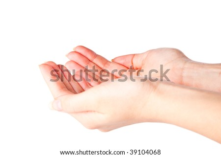 Cupped hands. Isolated on a white background - stock photo