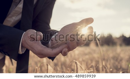 Cupped hands of a business man in a suit standing in a wheat field with a bright morning sunburst shining between his fingers in a close up conceptual view.