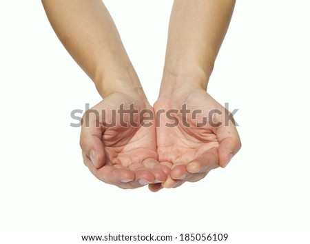 Cupped hands of a man on a white background - stock photo