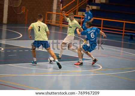 Cuprija, Serbia - 12/06/2017: Players during the match in Futsal to a very popular tournament in that part of Serbia