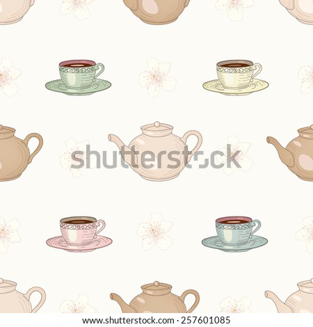 Cups and teapots with floral tea seamless pattern. Vintage engraving style - stock photo