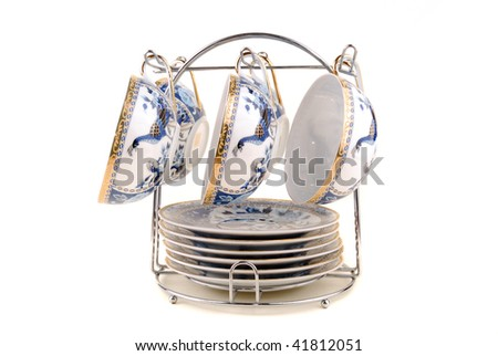 Cups for coffee or tea on a white background - stock photo