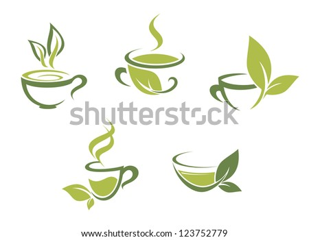 Cups of fresh tea and green leaves, such a logo template. Vector version also available in gallery - stock photo